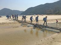 The new bridge built by volunteers after the typhoon