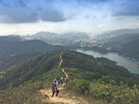 Descending Needle Hill towards Shing Mun reservoir and Kwai Chung